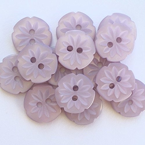 10 X Flower Buttons Size 24 ( 15mm) Pink Peach White Blue Lilac (white) Always Knitting & Sewing
