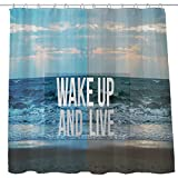 Shower Curtain Cloth Fabric Waterproof Non-Toxic Polyester Decor Washing Room 12 Self Grommets Plastic Rings Landscape Motivational Self Positive Girl Quotes Wake Up And Live 72x72 (180x180cm) (10)