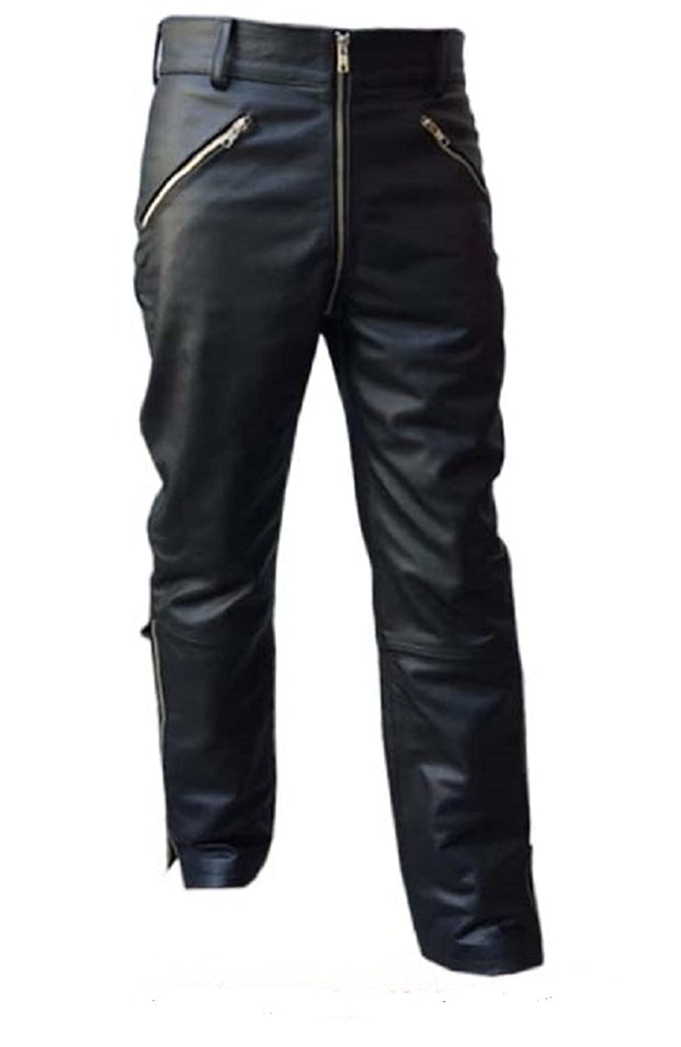 MENS SEXY REAL BLACK LEATHER MOTORCYCLE BIKERS PANTS