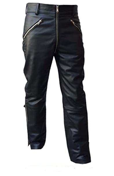 Amazon.com: Para hombre Sexy de piel para moto negro real ...
