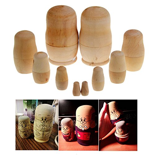 Fashionclubs Set of 5 Blank Unpainted Wooden Russian Nesting Dolls Matryoshka Toy For DIY