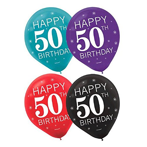 Happy 50th Birthday Party Balloons Collection, Set of 30