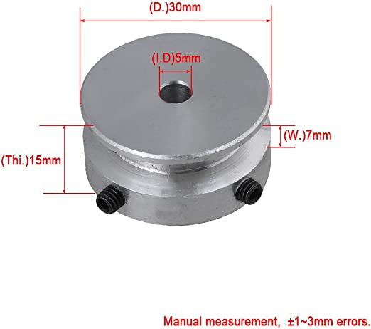 20x15x10MM Silver Aluminum Single Groove Fixed Bore Pulley with Wrench