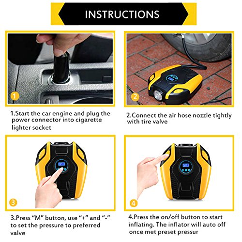 Tire Inflator, BREEZZ Air compressor Pump, 12V DC Portable Auto Tire pump with Digital Display up to 150PSI for Car, Bicycle and Other Inflatables (yellow new) by Breezz (Image #4)