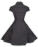 BI.TENCON Women's Retro Vintage 1950s Style Cap Sleeve Swing Party Dress