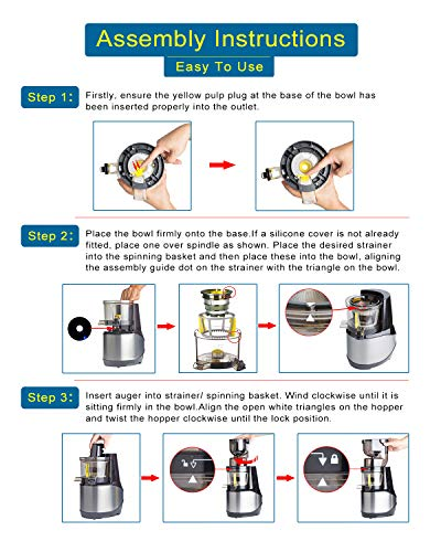Masticating Juicer,Whole Slow Juicer Extractor by Vitalisci,Cold Press Juicer Machine,Anti-Oxidation for Fruit and Vegetable,Easy to Clean and BPA Free,(300W AC Motor/3.15'' Wide Chute/40 RPMs)-Silver by Vitalisci (Image #5)