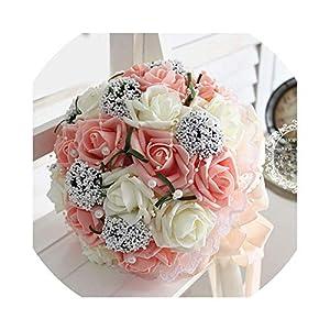 QianQianStore Bridal Hands Bouquet Wedding Gossamer Hand Bouquet Simulation Flowers Ball Photography Wedding Flowers 17