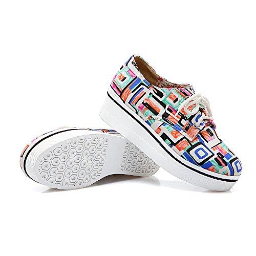 Donna Traspirante Lace Up Fashion Sneaker Comfy Mocassini Bassi Top Carine Scarpe Con Plateau Stampa Arancione