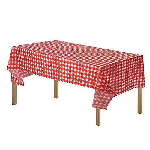ARTTHOME. Heavy Duty Gingham Checkered Tablecloth Premium Disposable Plastic Picnic Table Cover 54 Inch. x 108 Inch. Rectangle (12 Pack Red and White)