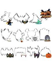 Halloween kakmått kakskärare kakskärare, 11 stycken halloween kakmått av rostfritt stål av pumpa, spök, spindel, häxa, fladdermus, katt kakor kakmått för barn party dekoration (silver 2)
