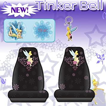 4 Pieces Tinkerbell Car Accessories Fearless Flirt Seat Covers Sundshade And Keychain