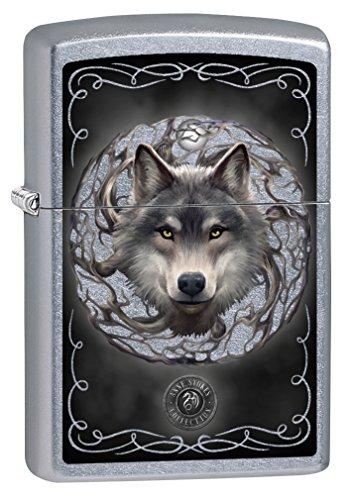 Zippo Lighter: Anne Stokes Wolf - Street Chrome -