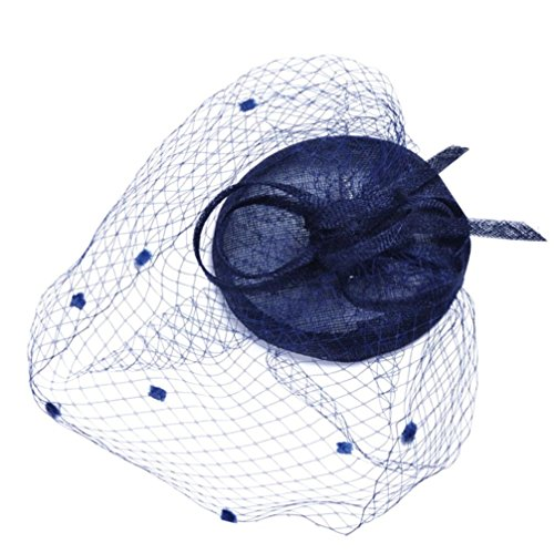 Yeefant Fashion Women Penny Bow Mesh Gauze Hat Ribbons And Feathers Wedding Party Bridal Headdress Hemp Hat,6.3x6.3x3.2 (Sailor Hat With Blue Bow)