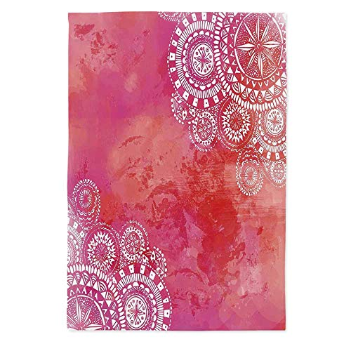 (TecBillion Mandala Soft Tablecloth,Pink Watercolor Paint Background with White Hand Drawn Doodles Asian Motifs for Buffet Table Parties Holiday Dinner Wedding & More,70.1''W X 84''L)