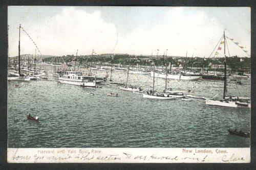 Harvard & Yale Boat Race New London CT undivided back postcard 1909