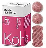 French Red Clay Konjac Sponge Set (3 Pack): Organic Skincare Set, 100% Natural, Plant-Based Cleansing & Exfoliating Sponges. (Including 2 x Face Sponge & 1 x Body Sponge) #1 UK BESTSELLER