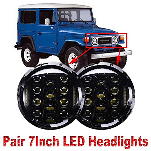 7 Inch LED Round Headlight Conversion for Toyota Land Cruiser FJ40 150W 6000K Hi/Lo Beam Led Headlamp 1 Pair (Toyota Fj40 Cruiser)