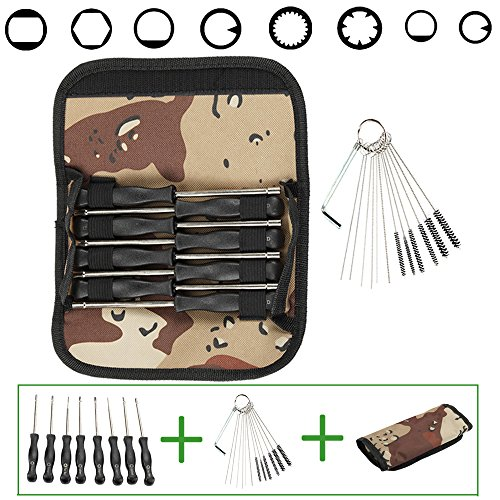 Anzac 8 Pcs Carburetor Adjustment Tool Kit with Camouflage Bag and Cleaning Needles Brushes Spanner for Common 2 Cycle Carburator - Needle Carburetor Adjustment