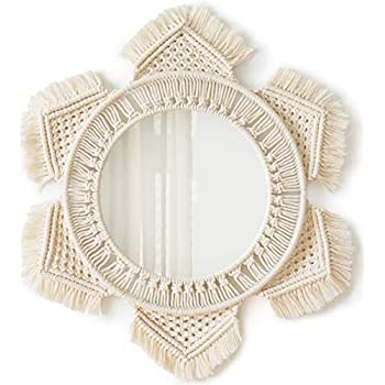 Mkono Hanging Wall Mirror with Macrame Fringe Round Mirror Decor for Apartment Living Room Bedroom Baby Nursery