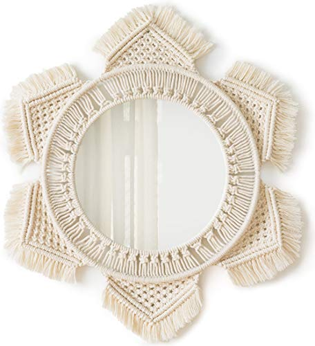 Mkono Hanging Wall Mirror with Macrame Fringe Round Mirror Decor for Apartment Living Room Bedroom Baby Nursery,Best]()