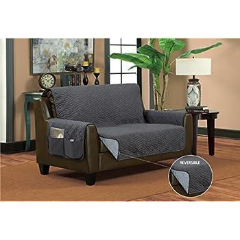 Bella Kline Reversible Sofa Furniture Protector, With 2 Storage Pockets - Grey / Light Grey