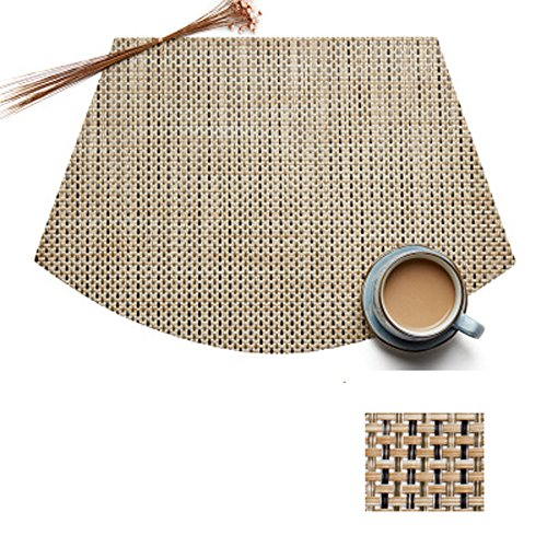 Set of 4 Wedge Placemats And Centerpieces Set by Vinmax for Round Tables Waterproof Placemats PVC Heat Resistant Table Mats Pads (Bamboo Green, ()