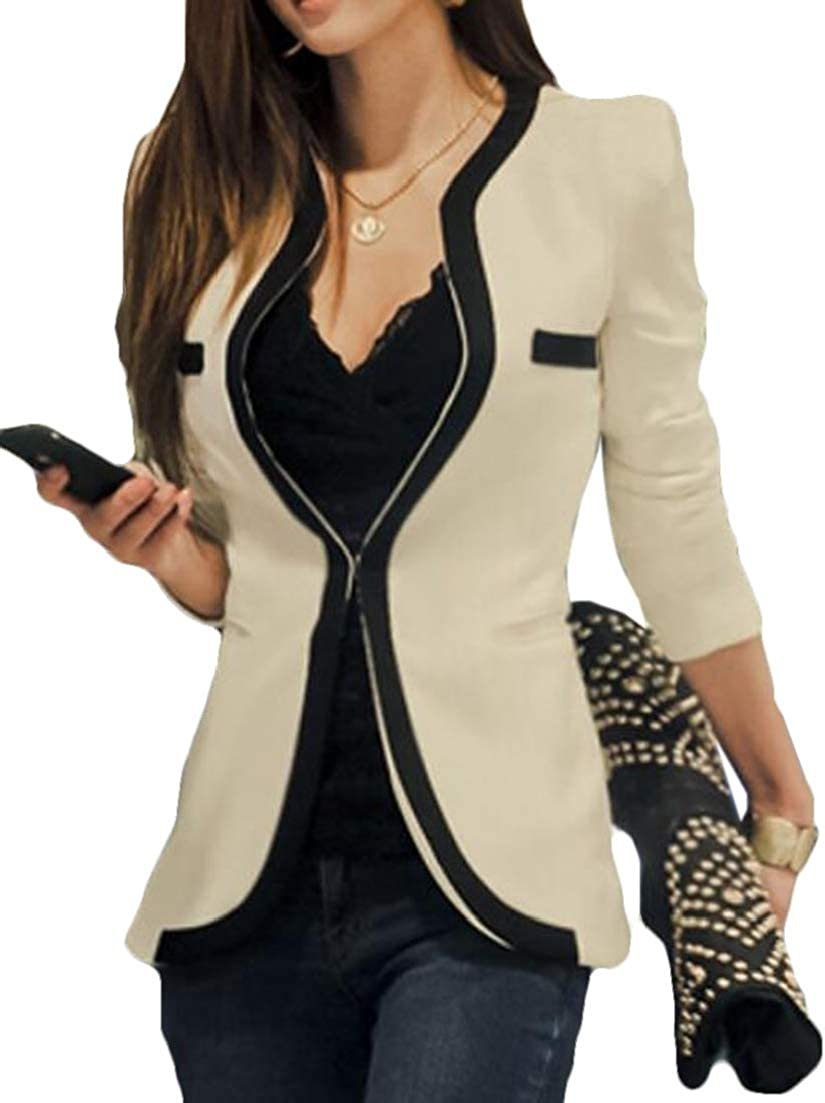 X-Future Womens Lapel 3//4 Sleeve 1 Button Dress Blazer Jacket Suit Coat