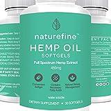 Hanf Oil Softgels Capsules :: Full Spectrum Hemp Oil for Pain Relief :: Anxiety Relief :: Natural Anti Inflammatory Supplement :: Sleep Dietary Supplement :: Gluten-Free :: Naturefine Hemp