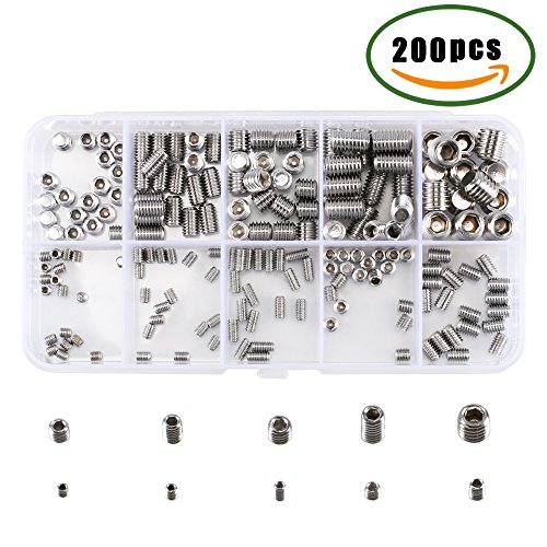Hex Grub Screw Kit ManYee Metric Allen Head Socket Set Cup Point A2-70 Stainless Steel Assortment Kit M3 M4 M5 M6 M8 (Thread Plastic Repair)