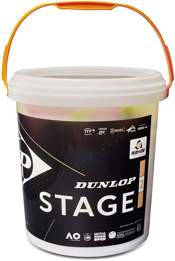 Dunlop 601343 Pelota de Tenis, Stage 2 Naranja - Cubo de 60 Pelotas