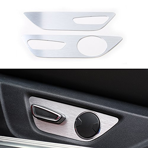 BORUIEN For Ford Mustang 2015+ Aluminium Alloy Seat Adjustment Control Button Panel Decor Frame Cover Trim (silver)