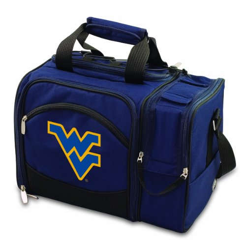 NCAA West Virginia Mountaineers Malibu Picnic Tote with Deluxe Picnic Service for Two