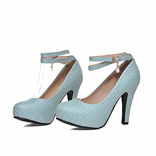 Carolbar Womens Rhinestone Pendant Buckle Ankle Strap Fashion Elegance Charms High Heel Dress Pumps Shoes Blue huQZ8S