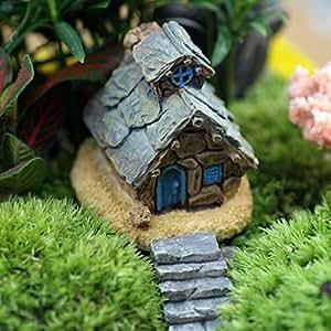 Jardín de hadas miniatura Craft Micro Cottage Decoración de paisaje micro Casa de piedra resina