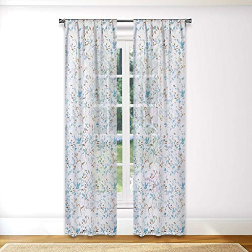 (Vera Neumann - Idella Multi-Color Floral Linen Textured Pole Top Window Curtains for Living Room & Bedroom - Assorted Colors - (36 X 84 Inch - Blue))