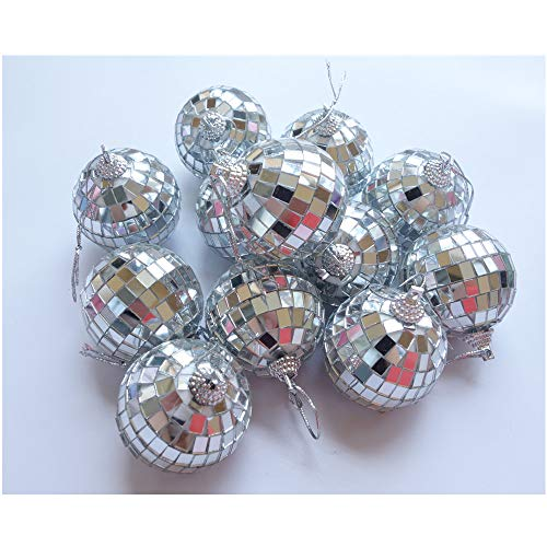 HAMIYA 12 Pcs 2 Inch Disco Ball Decoration Hanging Mirror Ornament Bar Party Wedding Christmas Xmas Tree Decorations]()