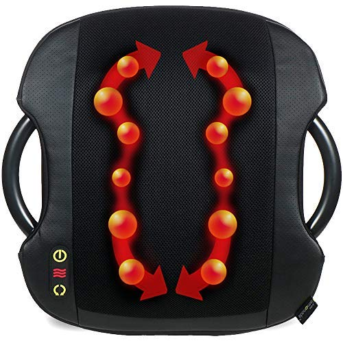 - Shiatsu Massage Cushion with Heat | Lumbar Support Back Massage | Portable Handles for Home or Office | Black