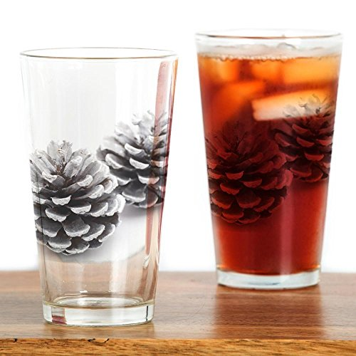 CafePress Silver Pine Cones Pint Glass, 16 oz. Drinking Glass ()