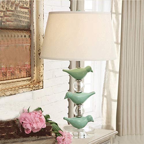 American Country Table Light Vintage Crystal Green Bird Table Lamps Bedside Bedroom Living Room Living Room Light