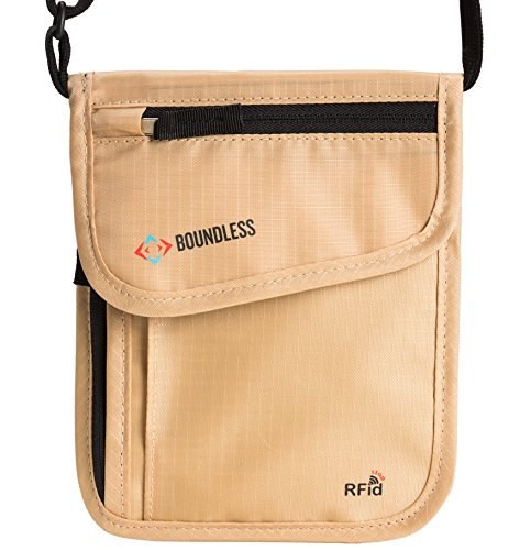 - Boundless Neck Pouch Passport Travel Wallet With RFID Security Blocking (Khaki)
