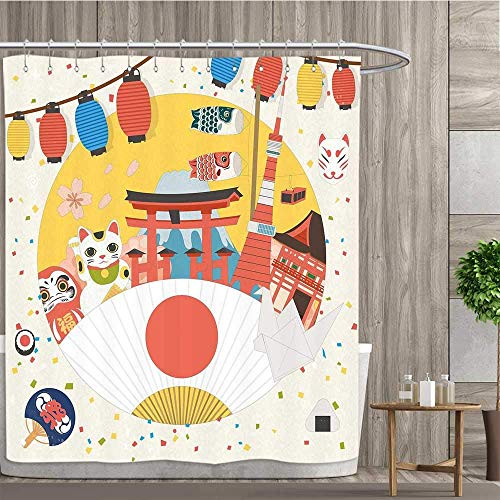 CHASOEA Lantern,Shower Curtains,Japanese Inspired Commercial Pattern Various Asian Culture Items Cool Cat Origami,Satin Fabric Sets Bathroom,Multicolor,Size:W72 x L72 ()