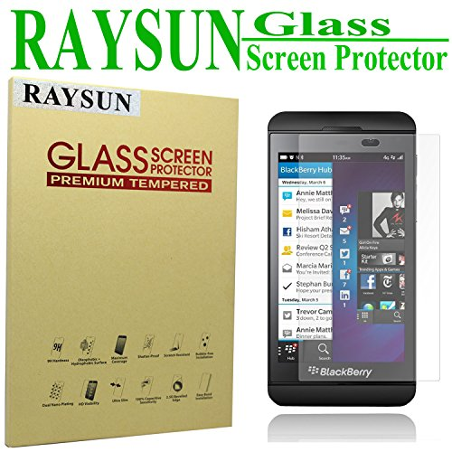 RAYSUN BlackBerry Z10 Glass Screen Protector 0.3mm Real Tempered Glass 9H Hardness 2.5D Arc Edge Shatterproof High Definition (Fulfilled by Amazon) (BlackBerry Z10)