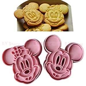 1 X niceeshop(TM) 1Set(2Pcs)-Cute Mickey/ Minnie Mouse Decorating Cookie Cutter-Pink