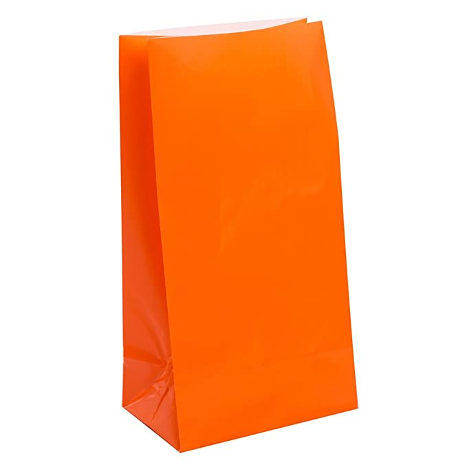 Unique Party- Paquete de 12 bolsas de regalo de papel, Color naranja, 30 (59013)