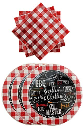 Red and White Gingham Paper Plates and Buffalo Plaid Checkered Luncheon Napkins Disposable Party Supplies for BBQ Birthday Barnyard Theme Summer Picnic Party Set (Serves 36)