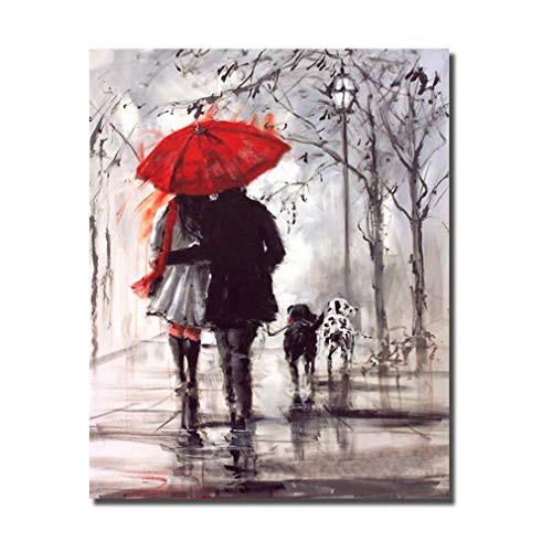 HVEST Lover Canvas Wall Art-Couple Walking in Rain with Red Umbrella Artwork Lovely Dogs Painting for Living Room Bedroom Bathroom Office Wall Decor,Stretched and Framed Ready to Hang,16x20 inches (Red Rain Art Print)