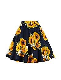 Filfeel Women's Flower Print A-Shaped High Waist Flare Skirt Sunflower Pleated Skirt