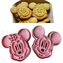 Mickey and Minnie Plunger Cookie Cutter 2 Pc Pink Set by Unbranded