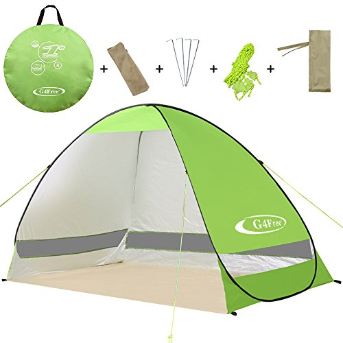 G4Free Outdoor Automatic Pop up Instant Portable Cabana Beach Tent 2-3 Person Camping Fishing Hiking Picnicing Anti UV Beach Tent Beach Shelter, Sets up in Seconds(Green) - Beach Shade Canopy