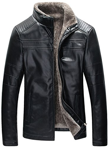 Chouyatou Men's Winter Rugged Front Zip Fleece Lined PU Leather Quilted Moto Jacket (Black, Large) (Rugged Sleeve Zip)